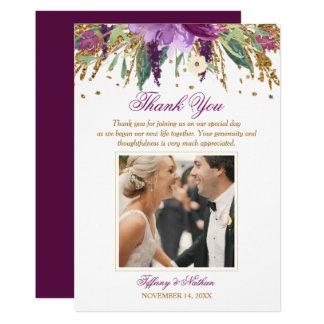 Tarjeta La foto Amethyst chispeante floral del boda le