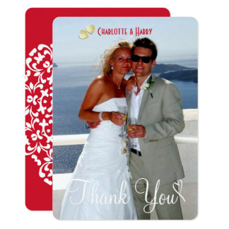 Tarjeta La foto blanca roja de la escritura del boda del