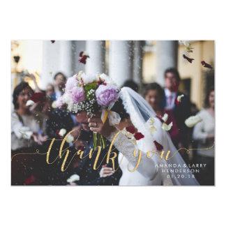 Tarjeta La foto de lujo del boda le agradece cardar