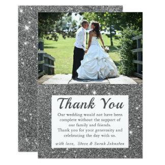 Tarjeta La foto de plata del boda de la chispa le agradece