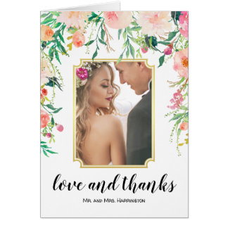 Tarjeta La foto floral del boda de la acuarela le agradece
