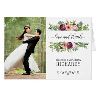 Tarjeta La foto floral del boda de la fantasía le agradece