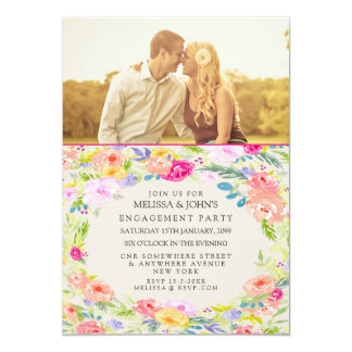 Tarjeta La foto floral del fiesta de compromiso de la