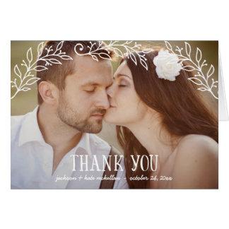 Tarjeta La foto floral rústica del boda de la elegancia el