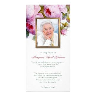 Tarjeta La foto fúnebre de los rosas botánicos rosados le
