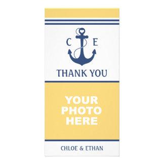 Tarjeta La foto náutica amarilla y azul le agradece