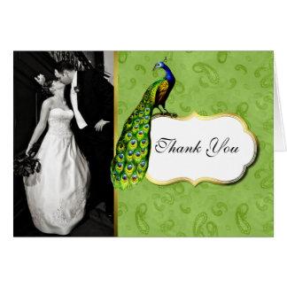 Tarjeta La foto preciosa del boda del pavo real le
