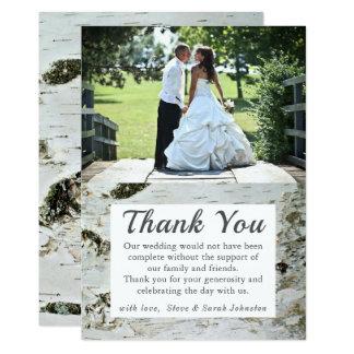 Tarjeta La foto rústica del boda de la corteza de abedul