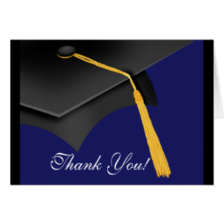 Tarjeta La graduación le agradece casquillo azul del