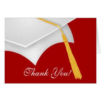 Tarjeta La graduación le agradece el casquillo rojo blanco