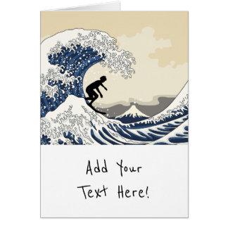 Tarjeta La gran persona que practica surf de Kanagawa