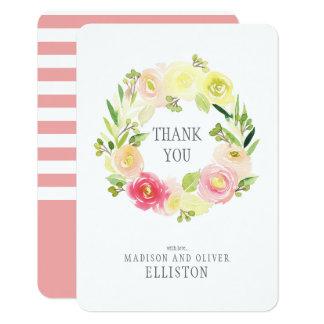 Tarjeta La guirnalda floral el   de la acuarela rosada y