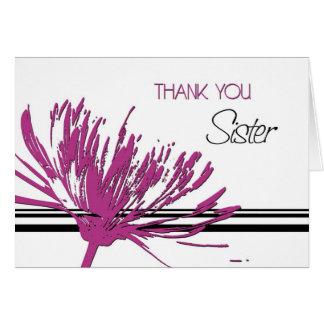 Tarjeta La hermana rosada y negra le agradece criada de la
