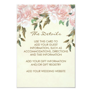 Tarjeta la información floral rosada del boda detalla a la