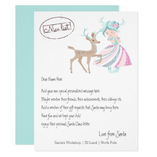 Tarjeta La letra del reno del chica de Santa personalizó