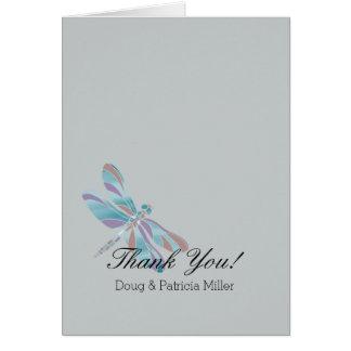 Tarjeta La libélula azul gris le agradece