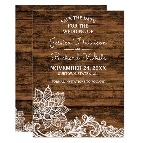 Tarjeta La madera del granero y el boda del cordón ahorran