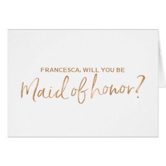 Tarjeta La mano de cobre puesta letras usted será mi