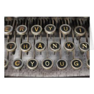 Tarjeta La máquina de escribir le agradece