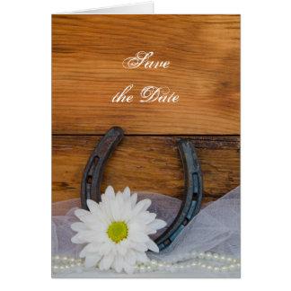 Tarjeta La margarita y el boda occidental de herradura