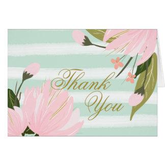 Tarjeta La menta y el rosa florales le agradecen