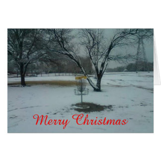 Tarjeta La meta del golf del disco de las Felices Navidad