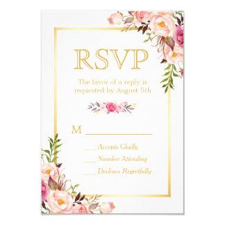 Tarjeta La moda elegante florece el marco RSVP del oro