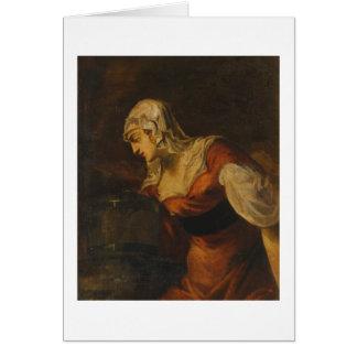 Tarjeta La mujer de Samaria en bien, c.1560 (aceite en c