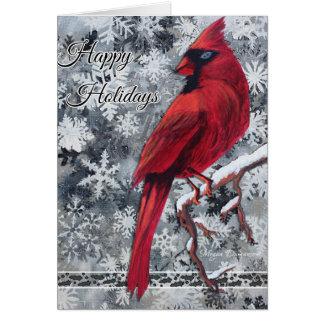 Tarjeta La nieve cardinal forma escamas buenas fiestas