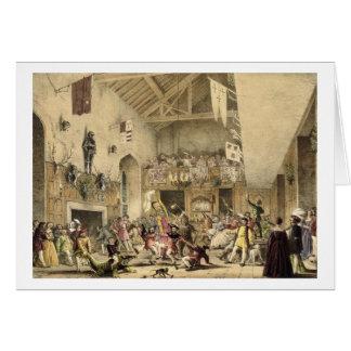 Tarjeta La noche de Reyes Revels en el gran pasillo,
