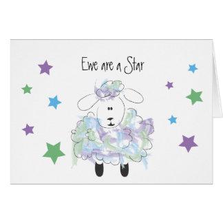 Tarjeta La oveja es una estrella - enhorabuena