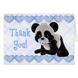 Tarjeta La panda con los corazones azules del pacificador