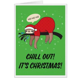 Tarjeta La pereza Santa se enfría hacia fuera es navidad