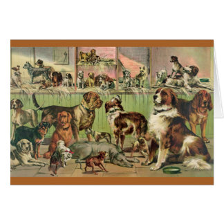 Tarjeta La pintura retra linda del amante del perro que