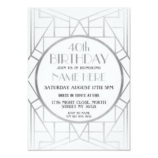 Tarjeta la plata de Gatsby del cumpleaños del art déco de