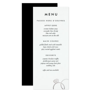 Tarjeta La plata moderna suena el menú de encargo del boda