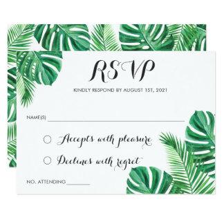 Tarjeta La playa de hoja de palma tropical RSVP responde