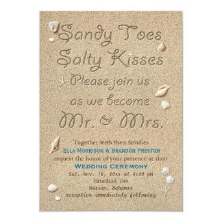 Tarjeta La playa Sandy toca con la punta del pie besos