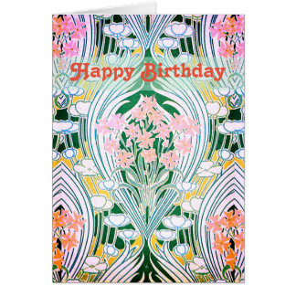 Tarjeta La primavera florece feliz cumpleaños colorido