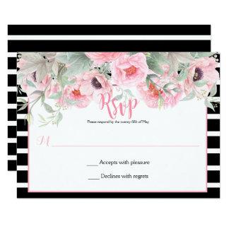 Tarjeta La primavera rosada de la acuarela florece las