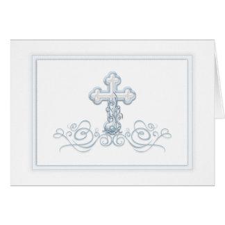 Tarjeta La primera comunión del bautismo cruzado azul le