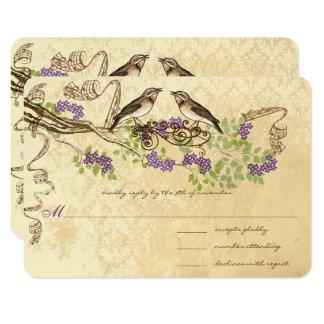 Tarjeta La púrpura florece pájaro verde del vintage de la