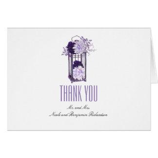 Tarjeta La púrpura y la linterna de las flores de la