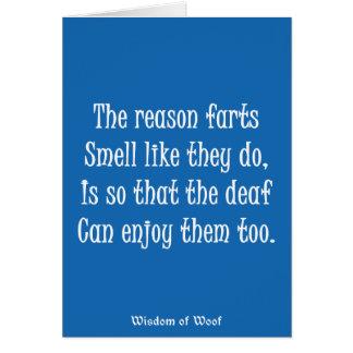 Tarjeta La razón Farts olor como hacen