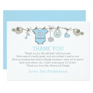 Tarjeta La ropa babyboy elegante azul le agradece FIESTA