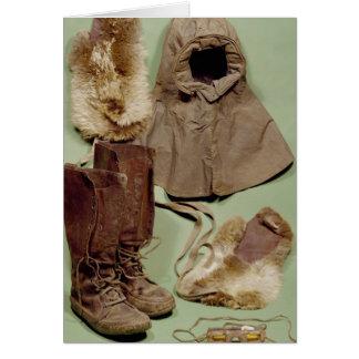 Tarjeta La ropa de Scott usada en el antártico