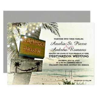 Tarjeta La secuencia nostálgica enciende el boda de playa