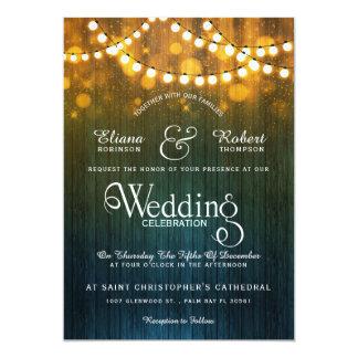 Tarjeta La secuencia rústica del boda del país enciende el