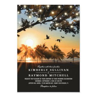 Tarjeta La secuencia tropical de la puesta del sol de la