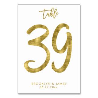Tarjeta La tabla del boda numera el efecto número 39 del